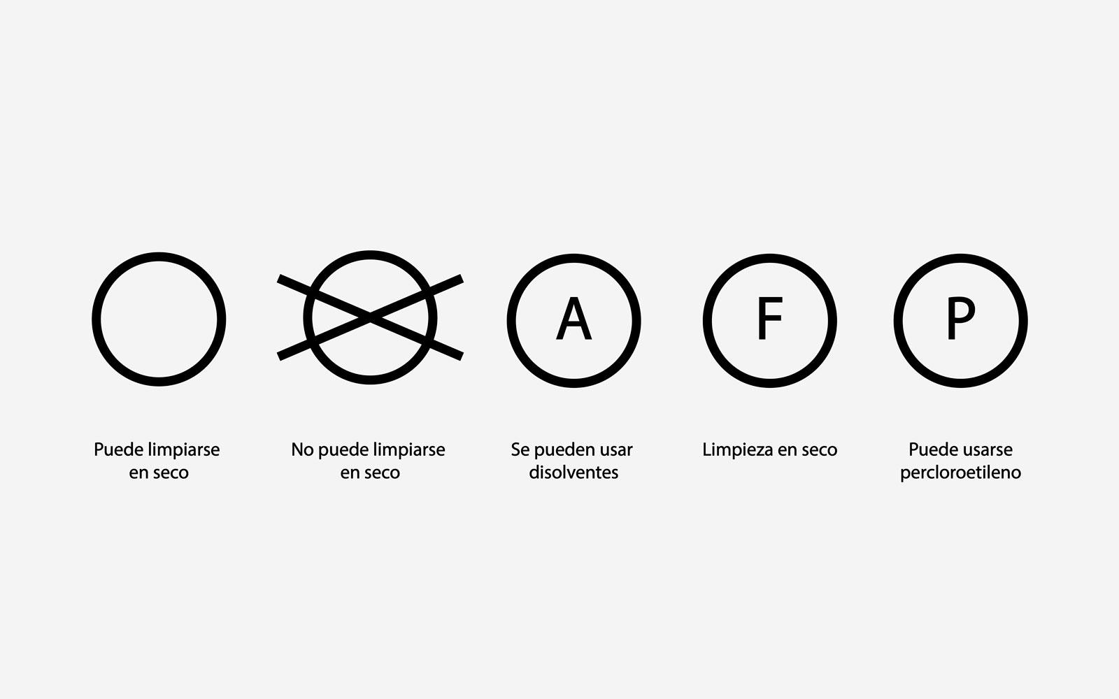 símbolos de lavado limpieza en seco