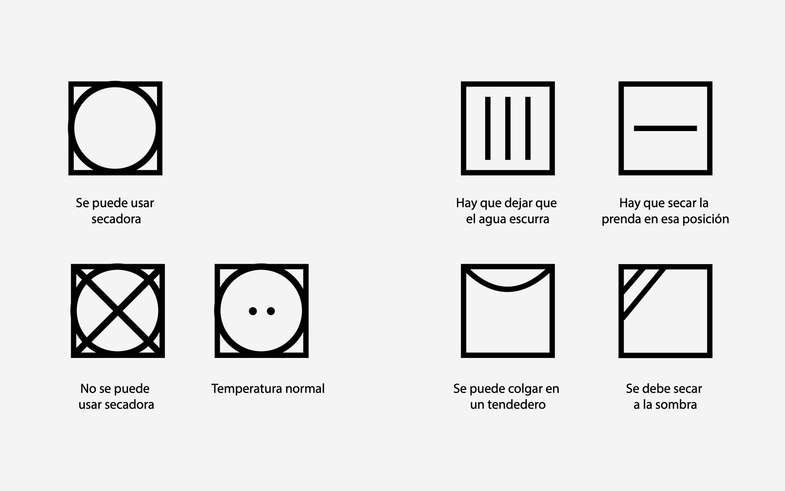 símbolos de lavado secado